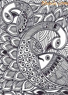 Madhubani Art: A Guide To Create Black and White Madhubani Paintings Madhubani Paintings Peacock, Kalamkari Painting, Peacock Painting, Madhubani Art, Indian Art Paintings, Abstract Paintings, Oil Paintings, Gond Painting, Mural Painting