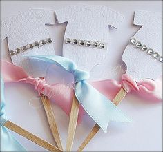 $24.00 Set Of 24 #CupcakeToppers, #BabyShower, Rhinestones And Satin Ribbon, Gender Reveal Party, Dessert Picks by Jaclyn Peters Designs