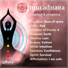"°The Muladhara or ROOT Chakra is our ""foundation"", which connects us to our physical self, enhancing the body's health, inner strength, courage & vitality."