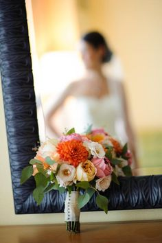 Blush to coral garden rose and dahlia bouquet. www.andrealaynefloraldesign.com. Photography by Corey Conroy