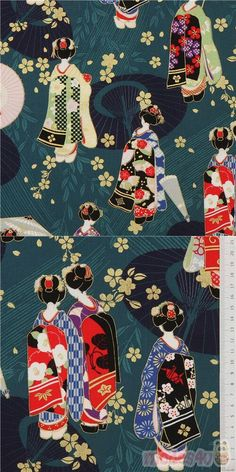 "dark green-teal cotton sheeting fabric with geishas, sakura flower etc., with metallic gold embellishment, Material: 100% cotton, Pattern Repeat: ca. 60.5cm (23.8"") #Cotton #People #Metallic #JapaneseFabrics"