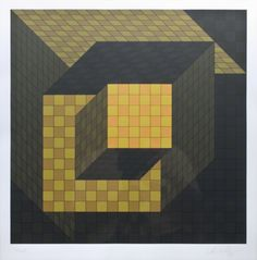 """Victor Vasarely (French/Hungarian, 1906-1997). """"Optical Cube"""". Silkscreen pencil signed and numbered by the artist. signed - Vasarely (lower right). numbered - 12/125 Size: art - 18"""" x 18"""", frame - 30"""" x 33""""."""