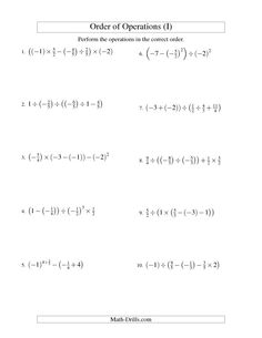 math worksheet : order of operations with fractions  six steps including negative  : Operations With Fractions Worksheets