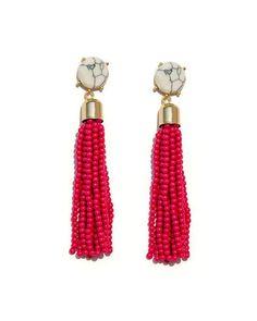 Beaded fringe pink earrings