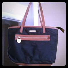 Authentic Mk purse Michael kor black and brown kempton nylon tote bag with matching wallet.. Michael Kors Bags Shoulder Bags