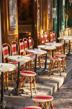 We sit here and watch the artists - Cafe in Place du Tertre, Montmartre, Paris France. Paris France, Oh Paris, I Love Paris, Cafe Bar, Cafe Bistro, Montmartre Paris, Cafe Tables, Table And Chairs, Wicker Chairs