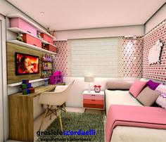 Quarto planejado para criança rosa. No mobiliário foi utilizado a cor branca e detalhes em tons de rosa no criado mudo e nos nichos do painel da TV. Projeto Grasiele Scarduelli Para orçamento conta…