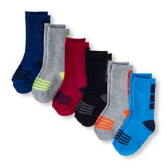 Baby Boys Toddler Boys Place Sport Ankle Block Athletic Crew Socks 6-Pack - Multi - The Children's Place