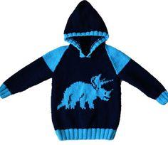 Knitting pattern for boys and girls dinosaur hoodie Pdf Aran Knitting Patterns, Jumper Knitting Pattern, Hoodie Pattern, Knitting For Kids, Double Knitting, Baby Knitting, Crochet Baby, Dinosaur Sweater, Girl Dinosaur
