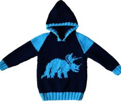 Dinosaur Child's Hoodie Triceratops Knitting by iKnitDesigns