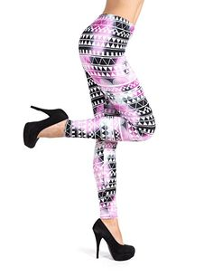 61a3b9128ee67 PL-SLE-1218 SEJORA Printed Leggings Full Length Patterned with Designs - (One  Size, Aria)