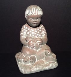 Isabel Bloom Sculpture Retired Boy with Bunnies 9 x 5.5 X 5.5 signed ca 1995