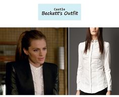 "On the blog: Kate Beckett's (Stana Katic) white stand collar button down shirt | Castle - ""The Way of the Ninja"" (Ep. 618) #tvstyle #tvfashion #outfits #fashion"