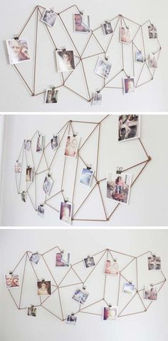 Kids Room: DIY Dorm Room Decor Ideas - Geometric Photo Display - Cheap DIY Dorm Decor Projects for College Rooms - Cool Crafts, Wall Art, Easy Organization for Girls - Fun DYI Tutorials for Teens & College Students Cheap Diy Dorm Decor, Easy Home Decor, Diy Room Decor For College, Diy Dorm Room, Room Decor Diy For Teens, Dorms Decor, Easy Diy Room Decor, Decor Room, Diy Room Decor For Girls