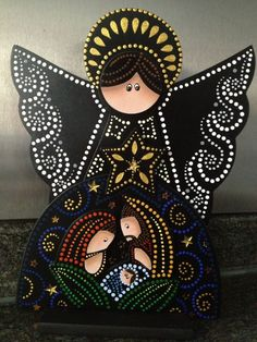 16 New Decor Painting İn Home - Nativity Crafts, Christmas Nativity, Christmas Art, Christmas Projects, All Things Christmas, Tole Painting, Mandala Painting, Xmas Ornaments, Christmas Decorations
