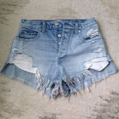 Abercrombie Jean high waisted shorts High waisted festival shorts. Never been worn but I don't have the tags because I thought I would wear them. Abercrombie & Fitch Shorts Jean Shorts