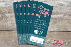 Printable Diaper Raffle Tickets for Nautical Baby Shower | Custom Digital File on Etsy, $10.00