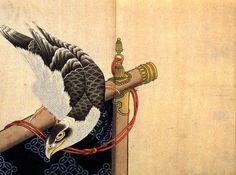 Hokusai Katsushika's illustration of a hawk on its perch.  葛飾北斎『肉筆画帖 鷹』