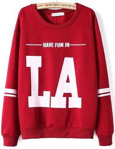 #SALE Red Long Sleeve LA Print Loose Sweatshirt $18 Shop the #SALE at #Sheinside