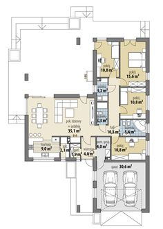Rzut FA Oceania II CE House Plans Mansion, New House Plans, Dream House Plans, House Floor Plans, Modern Bungalow House, Modern House Design, Circle House, Affordable House Plans, Three Bedroom House Plan