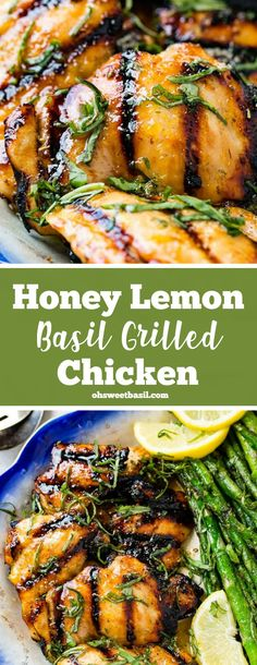 Grilled chicken is the perfect meal for summer! Add a simple marinade of the best flavors, and you'll be making this Grilled Honey Lemon Basil Chicken all summer long! It is a healthy and easy chicken recipe your whole family will enjoy! Healthy Grilling, Grilling Recipes, Cooking Recipes, Oven Recipes, Lemon Basil Chicken, Grilled Chicken Thighs, Grilled Lemon Chicken, Grilled Chicken Breast Recipes, Grilled Chicken Recipes