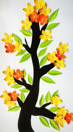 Decorating your home with paper flowers can add a effect to your home decorations. Art N Craft, Craft Stick Crafts, Preschool Crafts, School Board Decoration, School Decorations, Paper Flowers Craft, Flower Crafts, Paper Crafts For Kids, Diy Arts And Crafts
