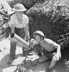 A 4.2-inch mortar of 1st Infantry Brigade's support group, firing in support of the 5th Northamptonshire Regiment in the Anzio bridgehead, Italy, 18 May 1944.