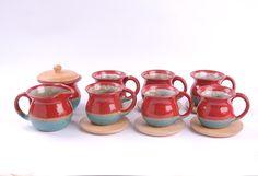 Cozy Design : Juego de café Pitren para 6 personas ( 8 unidades ) colores