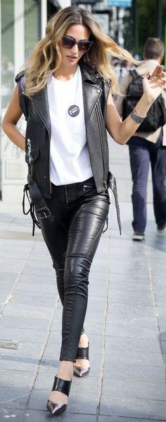 Lima's Wardrobe Black Leather Biker Girl Fall Outfit Idea