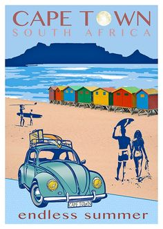 Cape Town Endless Summer Beetle Large Poster is part of Extra Large Posters Cape Town South Africa - Cape Town Endless Summer Beetle 700 x Printed on Calisto Satin High resolution paper, Rolled in Protective Tube Travel Logo, New Travel, Beach Travel, Endless Summer, Party Vintage, Beach Posters, Cape Town South Africa, Vintage Travel Posters, Illustrations