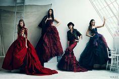 Karlie Kloss, Liu Wen, Arizona Muse, and Joan Smalls, all wearing Vera Wang Bride dresses.