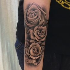Black and grey roses tattoo sleeve by Jose Contreras #Tattoo #NoRegrets #Roses