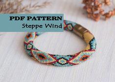 PDF Pattern for bead crochet bracelet - Seed beads crochet rope - Ethnic jewelry pattern - Tribal jewellery - Geometric ornament by HitoriToraWorkshop on Etsy