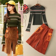 runway collection designer green long sleeve knitted tops and brown knee length split skirt fashion women 2pcs sweater skirt set