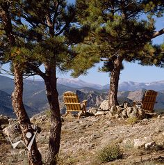 roger wade studio lifestyle photography of adirondack chairs on a scenic point looking out to mountain view, livermore, colorado, photographed for wilderness log homes