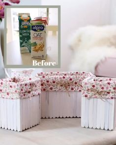 Use an old milk carton, some lollipop sticks and some scrap fabric to make these pretty fabric lined baskets. Use an old milk carton, some lollipop sticks and some scrap fabric to make these pretty fabric lined baskets. Diy Craft Projects, Kids Crafts, Diy Crafts Hacks, Diy Home Crafts, Craft Stick Crafts, Diys, Popsicle Crafts, Recycling Projects, Jute Crafts