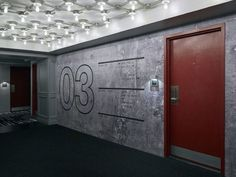 Door Signage, Paper Trail, Environmental Graphics, Corridor, Pattern Wallpaper, Garage Doors, Apartment Entry, Outdoor Decor, Design