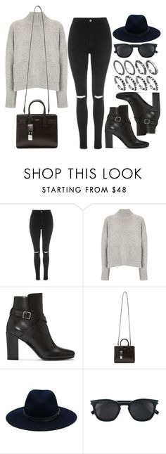 """Style #11566"" by vany-alvarado ❤ liked on Polyvore featuring Topshop, Frame Denim, Yves Saint Laurent and rag & bone"