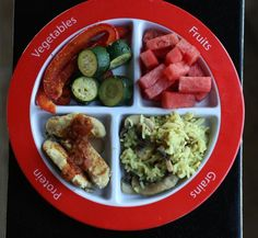 Dinner tonight: Roasted Red Peppers and Zucchini, Watermelon, Rice with Sauteed Mushrooms, and Homemade Chicken Patties with Lime and Salsa