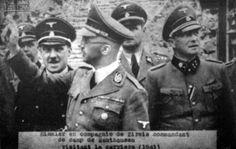 1941. Heinrich Himmler (1900-1945) und der Lagerkommandant Franz Ziereis bei einer Besichtigung des Konzentrationslagers Mauthausen im Jahr 1941.
