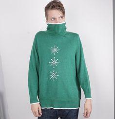 de862c94361e6 2X Green Turtleneck Ugly Christmas sweater party oversize Holiday Xmas  Snowflakes green Pullover jumper XXL men women unisex