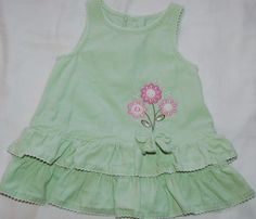 Youngland Infant Girls 3-6 Months Corduroy 100 Cotton Mint Green Jumper/Sleeveless Dress with Pink Flowers Embroidery.  #LIKENEW      TO PURCHASE THIS ITEM, COMMENT BELOW with your EMAIL.  PRICE IS $4.99 plus $3.89 SHIPPING.