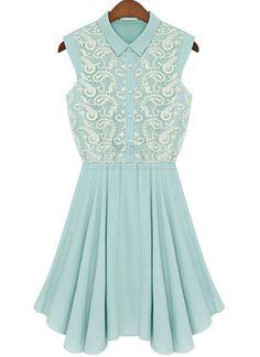 Green Lapel Sleeveless Embroidery Chiffon Dress US$34.10