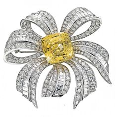 Yellow and white diamond brooch by Picchiotti.