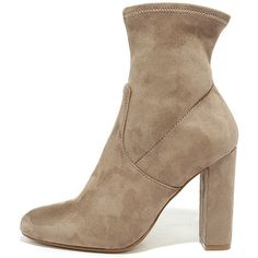 Steve Madden Edit Taupe Suede High Heel Mid-Calf Boots (4,255 PHP) ❤ liked on Polyvore featuring shoes, boots, brown, brown high heel boots, zipper boots, high heel boots, stretch boots and brown stretch boots
