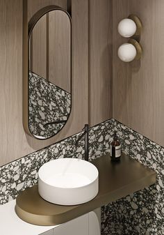A gold vanity shelf supports a small vessel basin. Family home with marble decor, textured wall panels, wood panelling and modern furniture. Featuring an adjoined kids' room design with dual level play space. Design Wc, Kids Room Design, Design Ideas, Home Interior, Modern Interior Design, Bathroom Interior, Marble Interior, Plan Wc, Textured Wall Panels