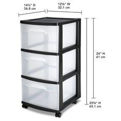 Sterilite 3 Drawer Cart Medium Plastic Storage Anizer Box