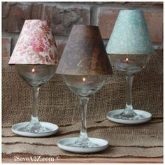 Wine Glass Lamp Shade DIY Project (Free template included) These are elegant and perfect on a table setting or on a mantle. You can use tealights or electric tealights too. Super easy to make with the template! Menta Chocolate, Homemade Chalk Paint, Rustic Lamp Shades, Crochet Diy, Ideas Geniales, Decoration Design, Lampshades, Diy Art, Glass Shades