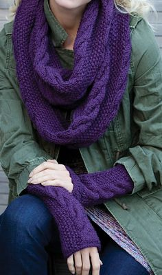 Free Knitting Pattern for Infinity Trinity Cowl and Mitts Set - Matching infinity scarf and fingerless armwarmers featuring braided cables on seed stitch. Designed by Sandy L. Harris for Red Heart Infinity Scarf Knitting Pattern, Knitting Patterns Free, Free Knitting, Knit Patterns, Baby Knitting, Hat And Scarf Sets, Fingerless Mitts, Seed Stitch, Knitting Accessories