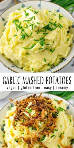 These Garlic Mashed Potatoes are super easy to make and the ultimate comfort food. Not only for the holidays. No one would ever guess these are entirely vegan, made with olive oil and vegan butter to make them extra creamy that the whole family will love. #vegan #dairyfree #glutenfree #vegetarian #mealprep #garlicmashedpotatoes #holidayfood #dinner #lunch #thanksgiving #contentednesscooking